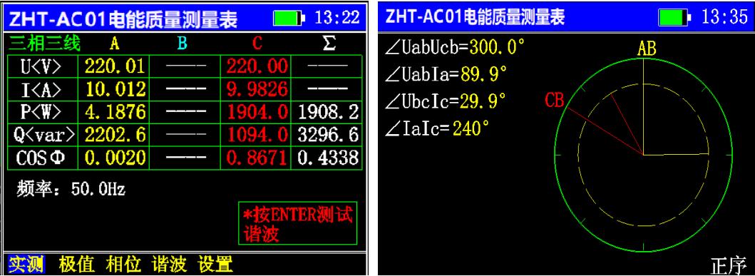 3、三相三线测试界面图展示